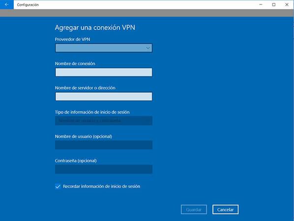 Cómo configurar VPN en Windows10