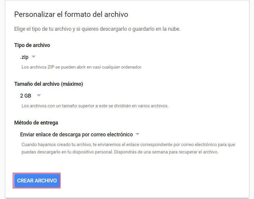Google - Descarga datos
