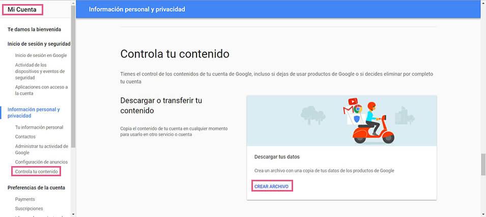 Google - Mi cuenta