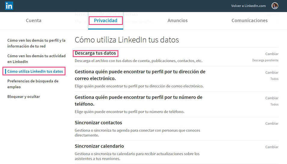 LinkedIn - Descarga datos