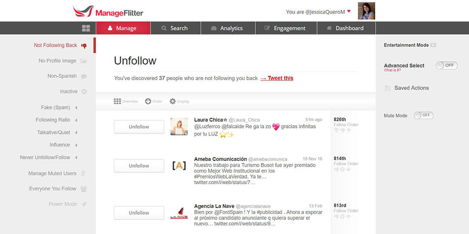 Twitter - Manage Filter