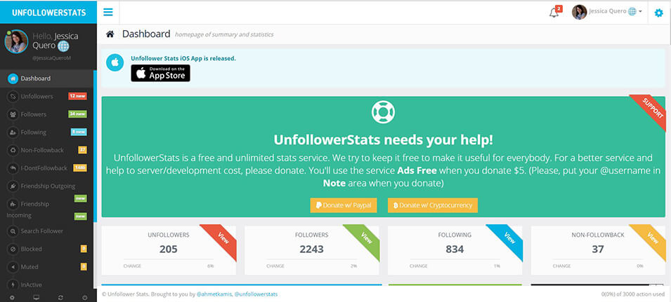 Twitter - Unfollower Stats