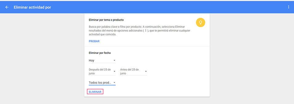 Eliminar actividad Google