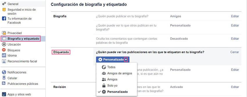 Biografía y etiquetado Facebook - Etiquetado