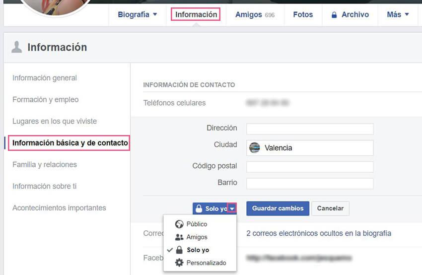 Información básica Facebook - Domicilio