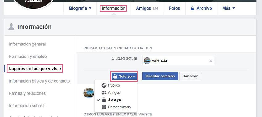 Información básica Facebook - Lugares