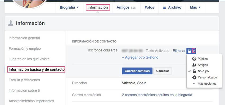Información básica Facebook - Teléfono