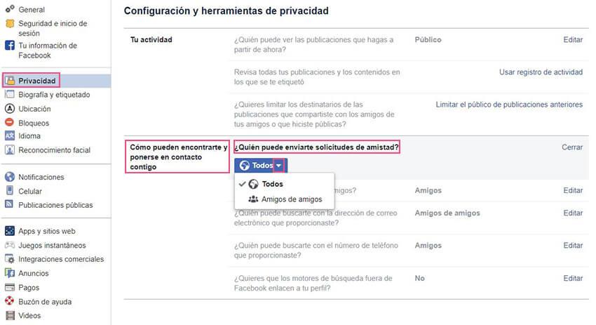 Privacidad Facebook - Amigos