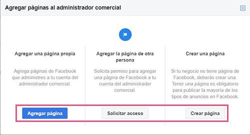 Añadir página en Business Manager