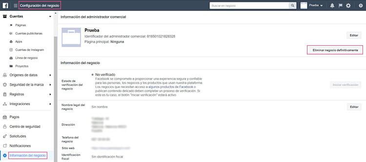 Eliminar tu Facebook Business Manager