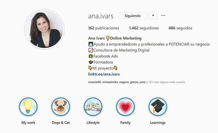 Biografía de Instagram - Ana Ivars
