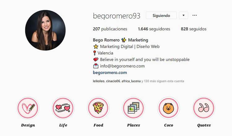 Biografía de Instagram - Bego Romero