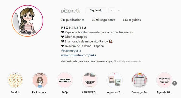 Biografía de Instagram - Pizpiretia