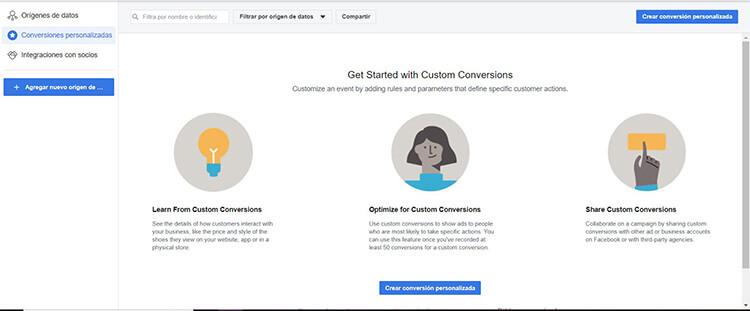 Conversiones personalizadas - píxel Facebook