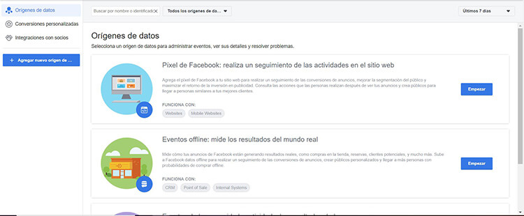 Crear píxel - Facebook