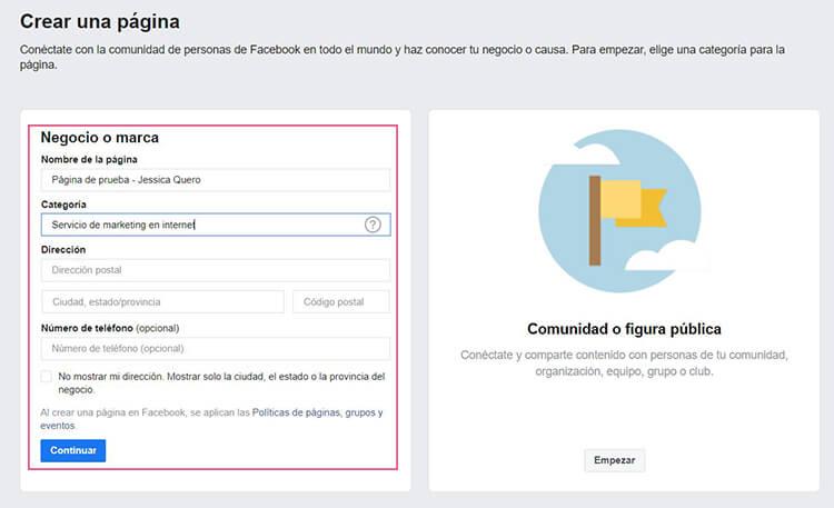 Crear página de negocio en Facebook
