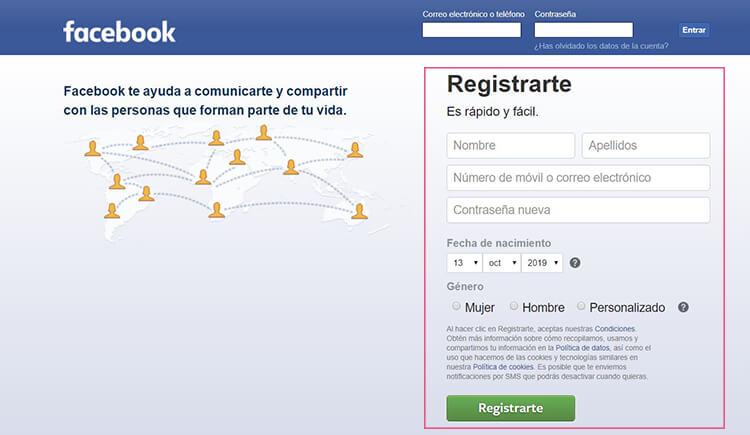 Crear perfil en Facebook
