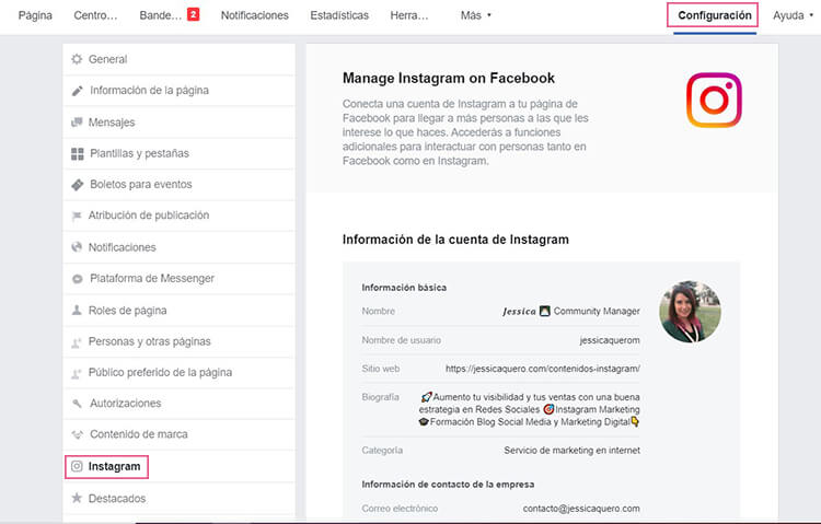 Vincular Instagram a Facebook