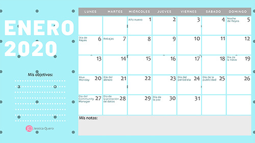 Calendario imprimible del Community Manager 2020