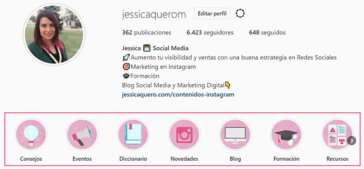 Mis historias destacadas Instagram