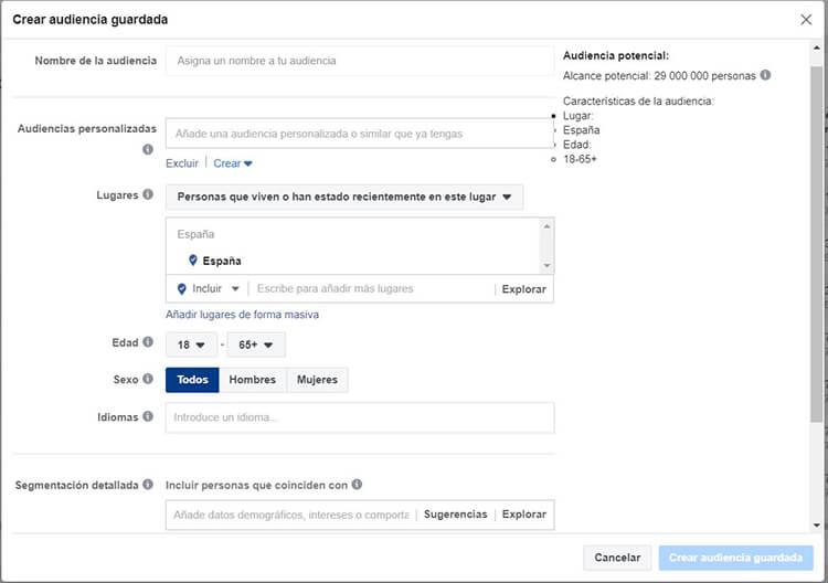 Segmentación Facebook Instagram - Público guardado